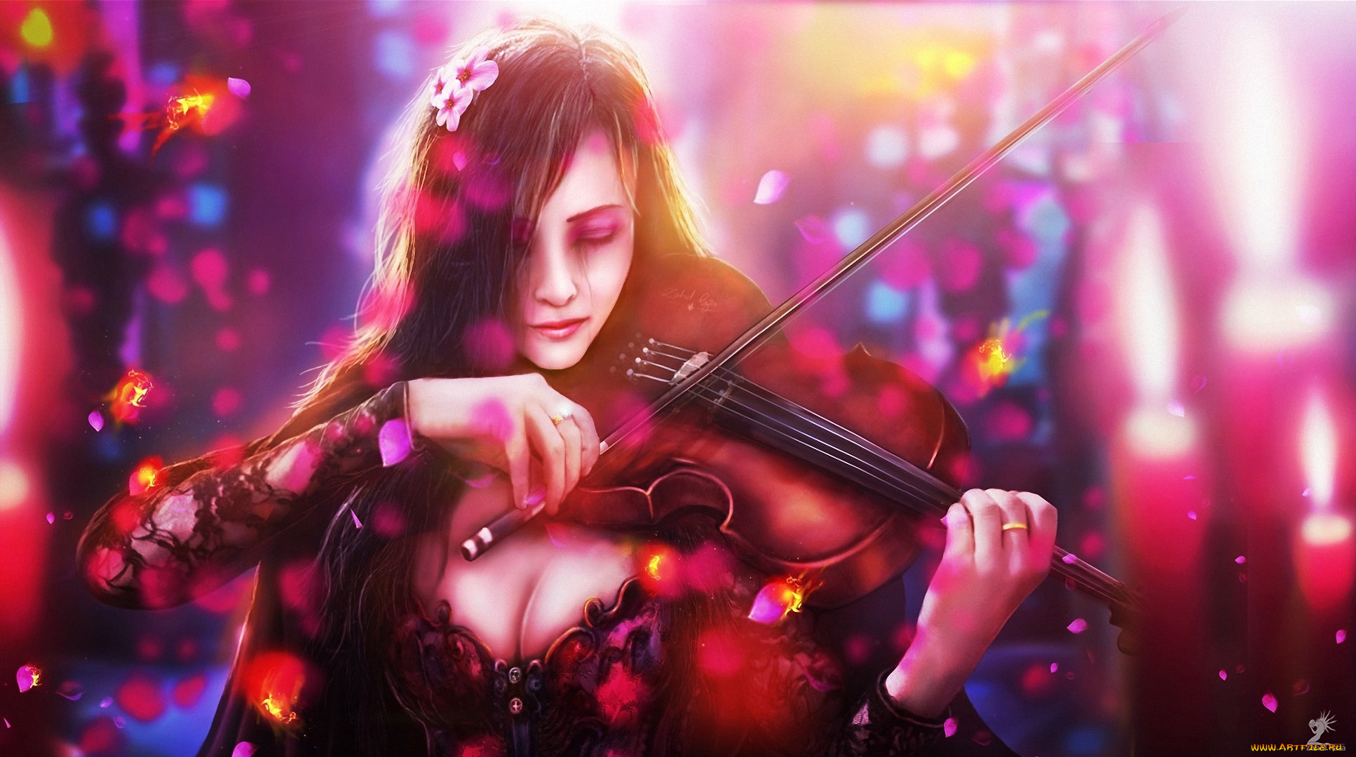 Картинки фэнтези девушка музыка
